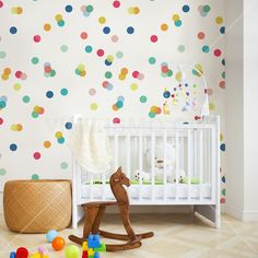 Wallpaper: Κομφετί Ikea Baby Nursery, Bright Nursery, Rainbow Nursery, Nursery Room Decor, Baby Bedroom, Kids Bedroom, Nursery Ideas, Baby Room Design, Nursery Design