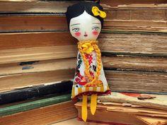 MARIA  - Original Handmade Fabric Doll by Danita Art (Approx. 8 Inches Tall). $45.00, via Etsy.