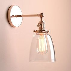 Permo Industrial Vintage Single Sconce With Oval Cone Clear Glass Shade 1-light Wall Sconce Wall Lamp (Rose Gold)