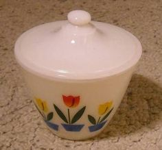 Vintage 1940s Fire King Tulip Grease Jar Bowl With Lid