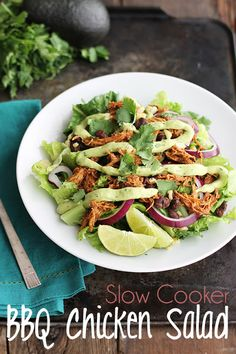 Slow Cooker BBQ Chicken Salad with Creamy Avocado Dressing