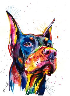 Doberman Pinscher coloré Art Print - impression de ma peinture aquarelle originale