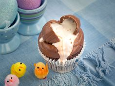 Creme Egg  Our Easter hens have been busy a-laying their foil ­covered eggs, which means our signature Easter cupcake is back! Just when you thought Creme Eggs couldn't get any better, we've found a way to make them last a little bit longer. Not only a moist chocolate sponge with a chocolate buttercream and a chocolate egg perched on top... Dip your spoon a little deeper for a delightfully gooey Creme Egg inspired ganache filling... too messy to share!