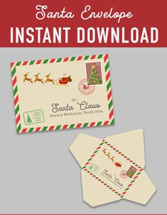 SALE Christmas envelope mail santa claus template vintage retro - Printable DIY Christmas - christmas decoration - christmas printables - instant download - favor labels wrapper - mail template - nutcracker printable - Christmas DIY kit - DIY christmas - christmas print - xmas printable - christmas party - digital download - digital printable - santa claus envelope - holiday printable - holiday DIY decoration -  holiday labels - printable christmas - party printable - north pole Diy Christmas Tags, Christmas Envelopes, Diy Ugly Christmas Sweater, Christmas Printables, Printable Labels, Party Printables, Santas Workshop, New Years Eve Party, Merry Xmas