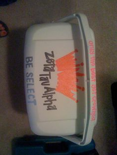 Custom Ice Chest. A sorority girl friend created this, modifying beer logos for the design. Top view.