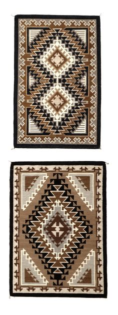 Two Navajo tapestry weave rugs  Virginia Deal and Carlene Deal, both exceedingly finely woven, the elder Deal's example with a single composite diamond medallion, within four corner complements and a reciprocal meander border; her daughter's work more densely drawn, with a double-diamond center and accents enclosed by a terraced meander border and solid outer frame.