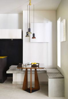 minimalist built-in dining benches. / sfgirlbybay