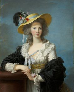 Portrait of the duchess de polignac wearing a straw hat with a feather and is dressed en gaulle