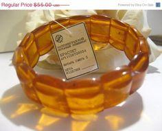 Vintage Russian Honey Amber Stretch Bracelet.