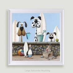 Beach Boys by Simon Clarke Dog Illustration, Cornwall, Art Images, Book Lovers, Seaside, Illustrators, Sheep, Cute Pictures, Pencil