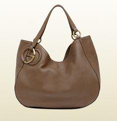 Gucci Twill Leather Medium Shoulder Bag Black 108