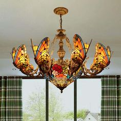 Tiffany Baroque butterfly pendant light Stained Glass Suspended Luminaire Chain hanging lighting for Home Parlor Dining Room Art Nouveau, Stained Glass Light, Stained Glass Chandelier, Lampe Art Deco, Cheap Pendant Lights, Pendant Lamps, Light Pendant, Dining Room Light Fixtures, Glass Ceiling
