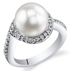 Elegant Freshwater Cultured White Pearl Ring (8.5-9mm) Sterling Silver CZ Accent Size 7 *** Find out more about the great product at the image link.