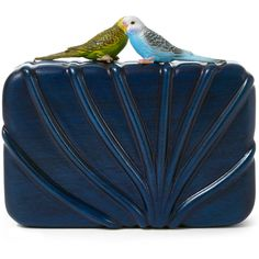 Sarah's Bag Blue The Dearest Bird Wooden Clutch (€945) ❤ liked on Polyvore featuring bags, handbags, clutches, blue purse, clasp purse, wood handbag, chain purse and wooden handbags