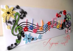 Holy Quilling Batman! Quilled treble clef + staff.