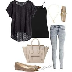 Spiked flats with beige bag
