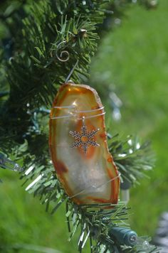 Natural Amber Agate Slice Ornament with a Silver by DejaVuDesignz2