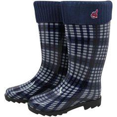 Cleveland Indians Ladies Navy Blue Plaid Cuffed Rain Boots@Fanatics#FanaticsWishList