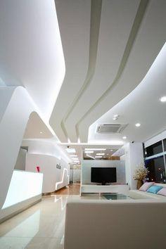 Modern office design in white with futuristic