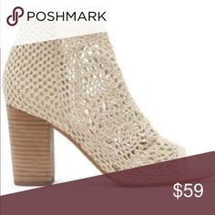 """Jessica Simpson Vanilla Cream Stretch Crochet NEW Jessica Simpson Vanilla Cream Stretch Crochet upper with a synthetic comfortable & soft sole.  Heel measures approximately 3.25"""" with a stacked heel.  Memory foam midsole.  Sexy peep toe bootie!  Jessica Simpson is famous for her fun, sexy style, and now her signature line of footwear, handbags, and sunglasses brings that same style home to you.  These booties are not only stylish, but extremely comfortable and perfect for spring & summer…"""