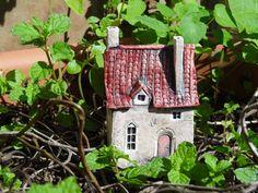 Miniature manor house - OOAK ceramic sculpture for terrarium fairy garden