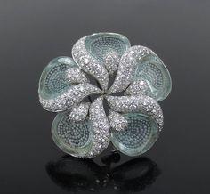 Rare Ambrosi 4.82ct Diamond & 3.80ct Aquamarine 18K Gold Flower Brooch #Ambrosi