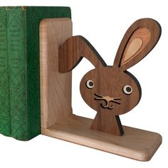 Wooden Bunny Book End Heirloom Kids Baby by graphicspaceswood
