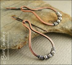 Teardrop loop earrings in copper wrapped with silver - made to order