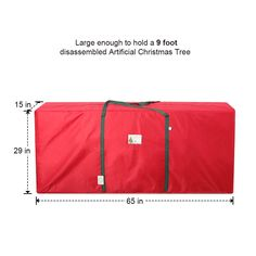D-FantiX Large 9 ft Christmas Tree Storage Bag with Handles Heavy Duty Xmas Tree Bags Storage Containers Fits Up to 9 Foot Artificial Trees x x Red