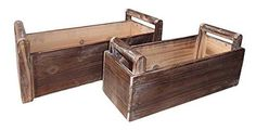 Cheung's Rattan Imports Wooden Rectangular Ledge Planter with Handle,  – Patio Bloom