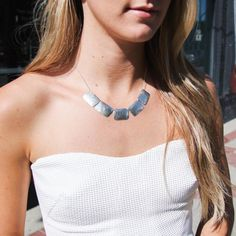 Our Hammered Sterling Silver Rectangle Necklace looking stellar on this fine Friday afternoon