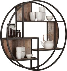 BluBambu Living focuses on rustic, reclaimed furniture from Indonesia. Handcrafted pieces that embody traditional methods and modern design from. Wall Shelves Design, Diy Wall Shelves, Wood Shelves, Reclaimed Furniture, Metal Furniture, Home Decor Furniture, Reclaimed Wood Floating Shelves, Floating Shelves Diy, Circle Shelf
