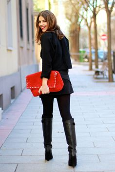Monochromatic + red + clutch