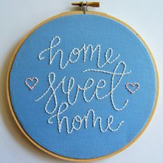 Home Sweet Home Hand Embroidery Embroidery Hoop by KnottyDickens