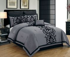 12 Piece King Dawson Black and Gray Bed in a Bag w/500TC Cotton Sheet Set