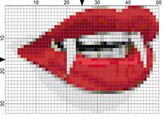 Stitch this Free Vampire Teeth Needlepoint Chart for Halloween: Day 291 of the 365 Needlepoint New Year's Resolutions Challenge