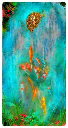 Turtle, Koi art, Enchanted, Box turtle, Fine Art photograph, pond art, art, turquoise blue art, Koi art, Turtles, fish on Etsy, $75.00