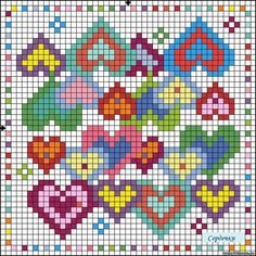 Counted cross stitch of overlapping hearts as quilt inspiration. Tiny Cross Stitch, Cross Stitch Heart, Wedding Cross Stitch Patterns, Cross Stitch Designs, Cross Stitching, Cross Stitch Embroidery, Pixel Crochet, Bead Loom Patterns, Loom Beading