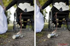Just married sign on wheelchair with tin cans