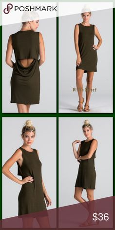 FLASH SALE⚡️Draped Open Back T-Shirt Dress Gorgeous back slit dress. Keep it casual and sexy in this summer must have! ⭐️Deep Olive Green Color ⭐️T-Shirt Style Dress  ⭐️Draped Open Back ⭐️Rounded Neckline ⭐️Sleeveless ⭐️90% Rayon Modal 10% Spandex ⭐️Measurements Upon Request Trades/ PayPal or Mercari *️⃣Price Firm Unless Bundled Dresses Mini