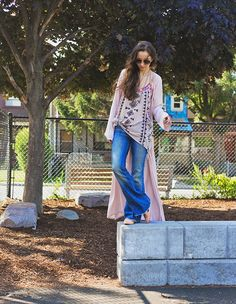 Maxi #Kimono with a #tribal tank, bralette, and raw hem jeans.
