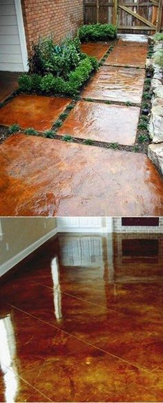 Porch and patio? How to stain concrete yourself. Goodness knows I have access to lots and lots of concrete. Outdoor Spaces, Outdoor Living, Outdoor Decor, Outdoor Projects, Home Projects, Garden Projects, Pergola, Concrete Floors, Concrete Staining