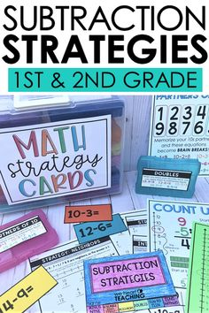 Everything you need to teach subtraction strategies to your 1st and 2nd graders. Includes 9 strategies, flash cards, multiple printable worksheets, anchor charts, and more! #subtractionstrategies #firstgrade #secondgrade #mathstrategies