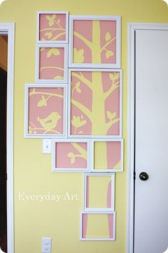 framed tree mural... Cricut something in vynal n stick it to the glass n let the 2nd color be the wall color. Fun idea!!!