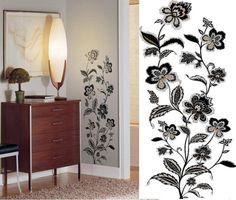 Jazzy Jacobean este un sticker decorativ ce aduce eleganta peretelui pe care este aplicat!  #stickerflower Curtains, Shower, Design, Home Decor, Rain Shower Heads, Blinds, Decoration Home, Room Decor