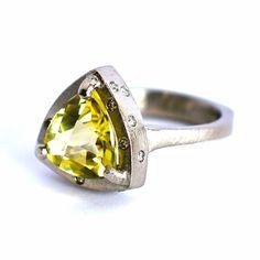 Citrine & Diamond Triangle Ring in Industrial Palladium