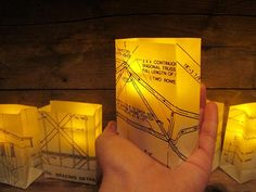 Mini Blueprint Luminaries Set of 5 Vellum by Oldendesigns on Etsy, $30.00