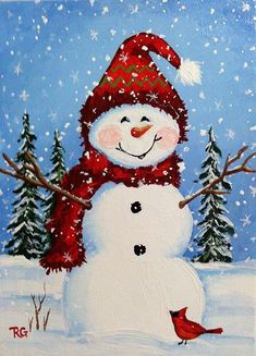 Snowman in illustration by Rhonda Gilbert - Balades comtoises . Christmas Rock, Christmas Snowman, Christmas Projects, Holiday Crafts, Xmas, Snowmen Paintings, Christmas Paintings On Canvas, Snowmen Pictures, Christmas Pictures
