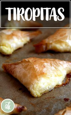 Tiropitas, cheese-and-egg filled phyllo triangles, are always a party favorite. What's more, they're not complicated and can be made ahead and stashed in the freezer — perfect to have on hand for entertaining. Phyllo Recipes, Pastry Recipes, Appetizer Recipes, Cooking Recipes, Phyllo Appetizers, Greek Desserts, Greek Recipes, Tiropita Recipe, Greek Pastries