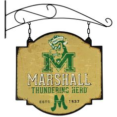 Embolden your man cave, game room, or bar area with the NCAA Vintage-Inspired Pub Sign. Made from metal, this two-sided tavern sign features the team logo and name along with its establishment date in team colors. Marshall University, University Of Kansas, Pub Signs, Wall Signs, Football Banner, Sports Signs, Hanging Signs, Sign Design, Vintage Signs